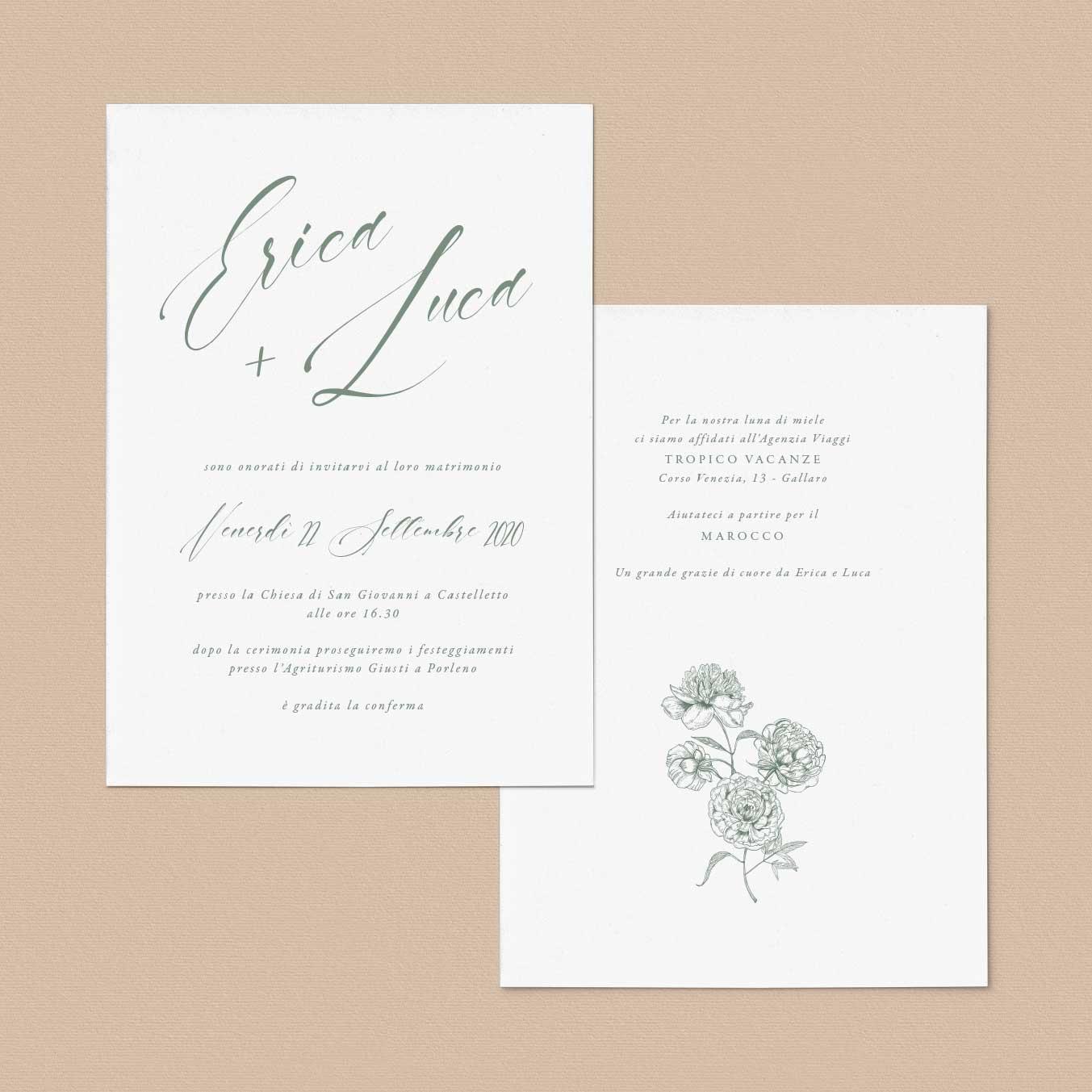 Iniviti-partecipazioni-Vintage-matrimonio-nozze-2020-calligrafia-calligraphy-corsivo-elegante-fiori-fiore-flower