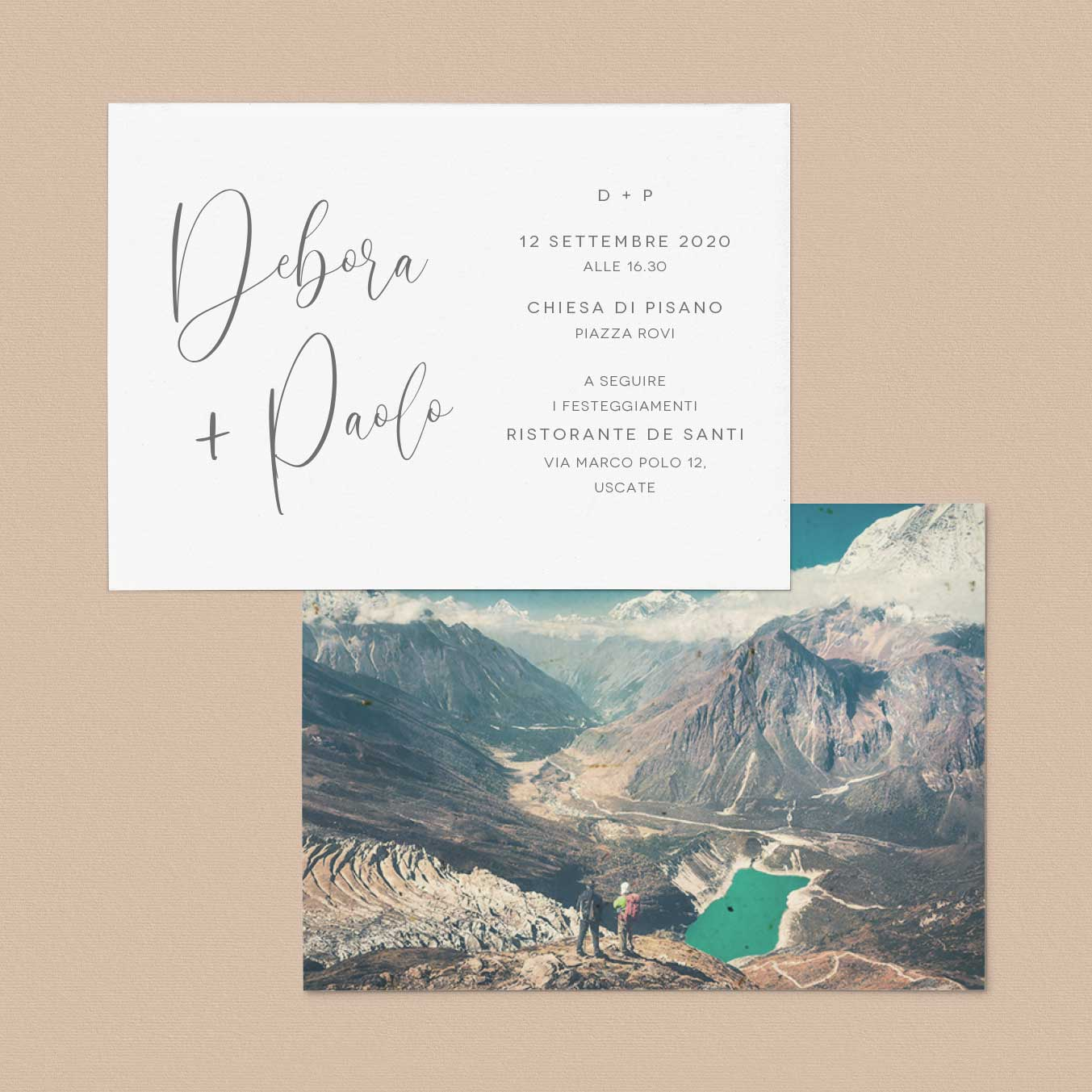Inviti-partecipazioni-matrimonio-nozze-wedding-invitation-cartolina-postcard-vintage-particolare-montagna-tema-mountain-originale-idea