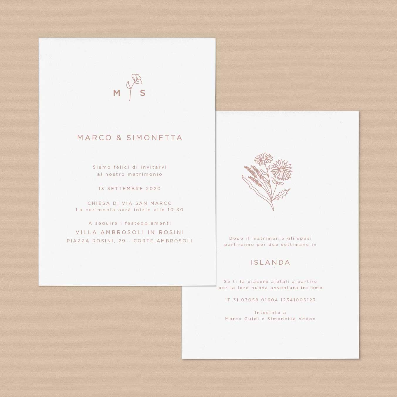 Invito-partecipazione-matrimonio-wedding-nozze-fiori-moderne-stile-esempi-idee-semplice-moderno-pop-elegante-modern-chic-fiorellini-natura