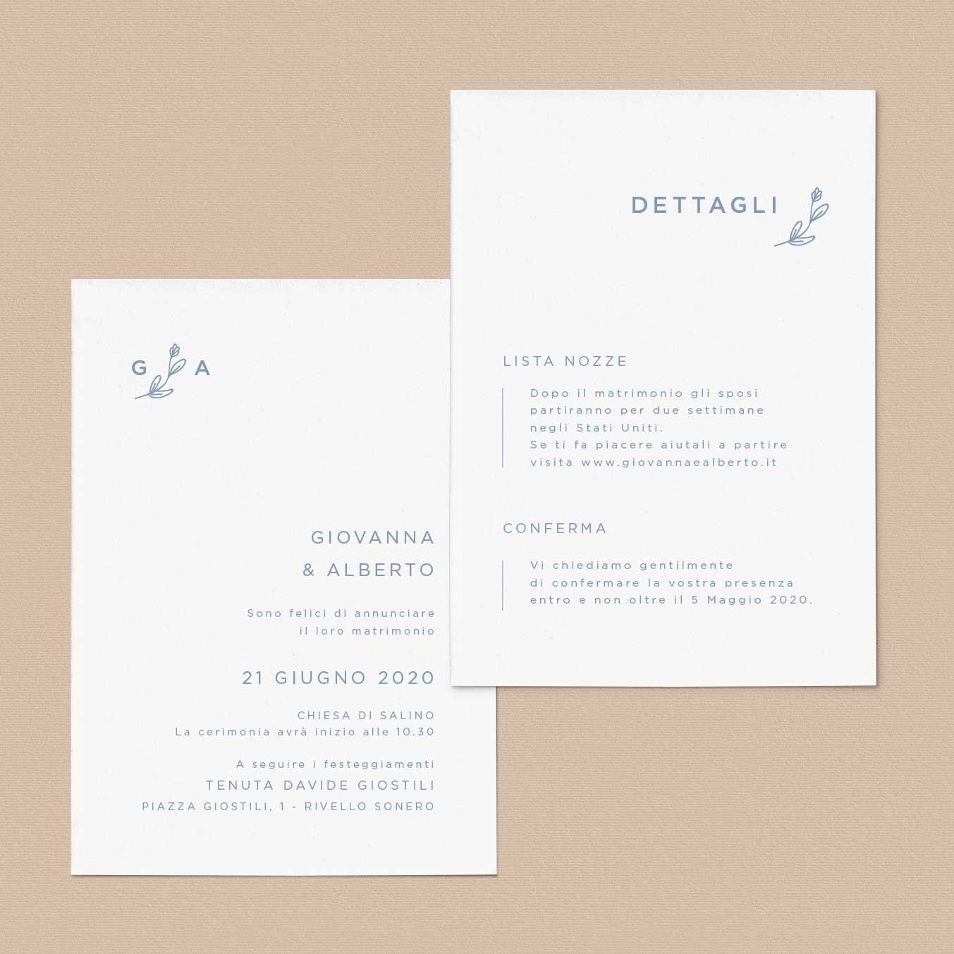 Invito-partecipazione-matrimonio-wedding-nozze-fiori-moderne-stile-esempi-idee-semplice-moderno-pop-modern-chic-fiorellini-natura