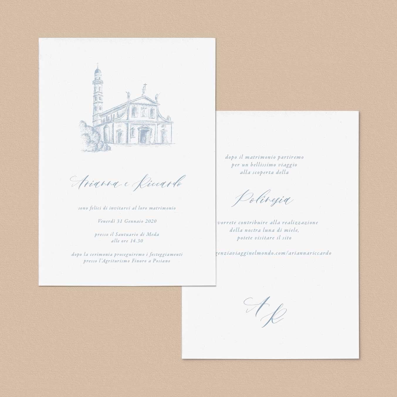 Partecipazioni-matrimonio-inviti-nozze-2020-messa-chiesa-santuario-illustrato-illustrazione-disegno-personalizzato-personalizzate