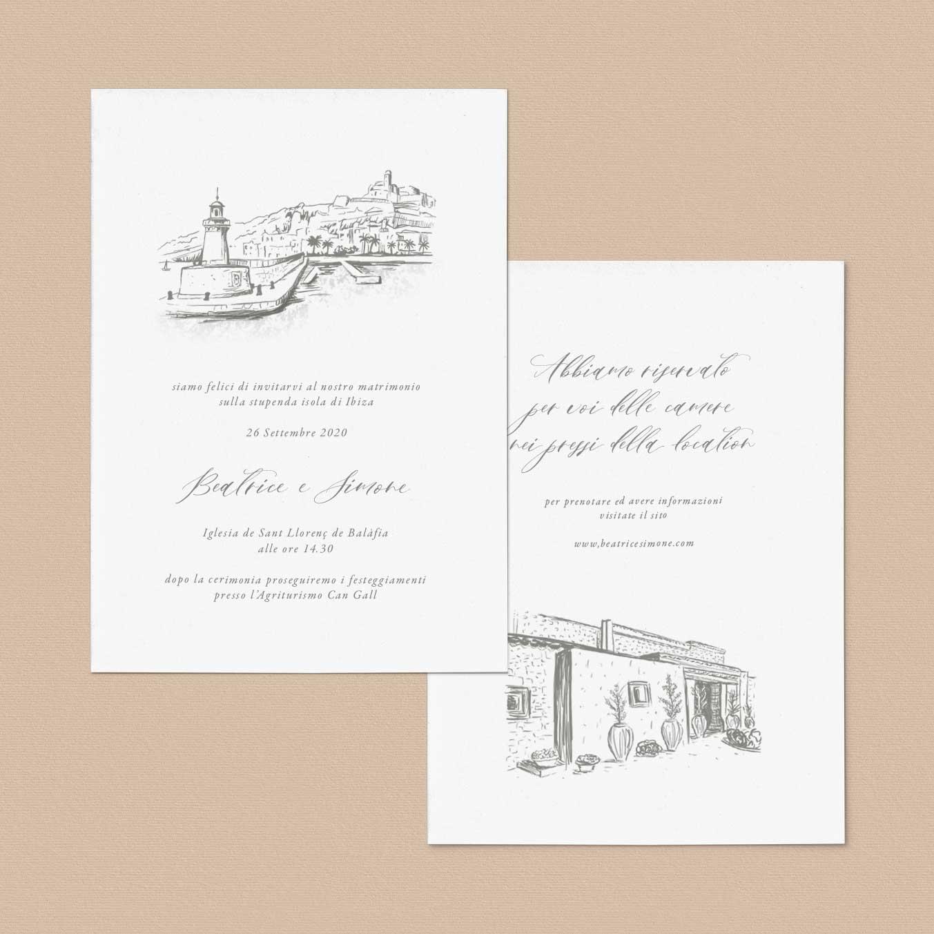 Partecipazioni-matrimonio-inviti-nozze-ibiza-mare-estate-estive-2020-illustrazione-location-chiesa-illustrato-disegno-personalizzato-personalizzate