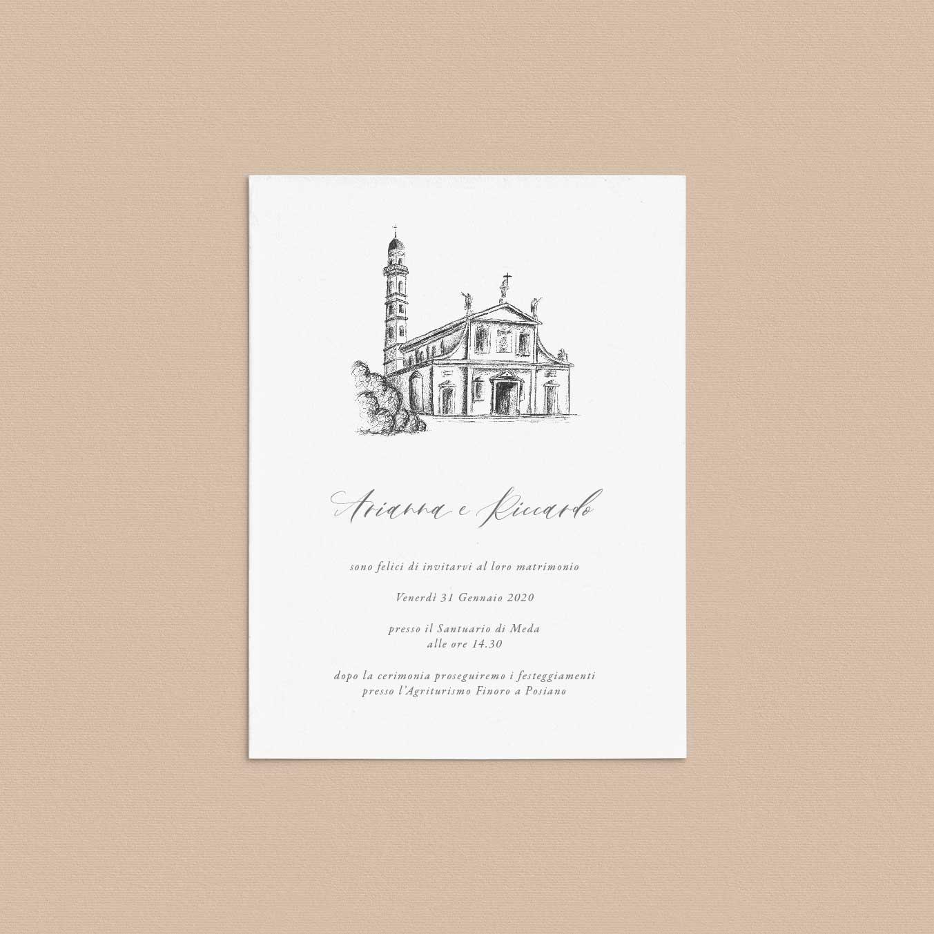 Partecipazioni-matrimonio-inviti-nozze-messa-chiesa-santuario-illustrato-illustrazione-disegno-personalizzato