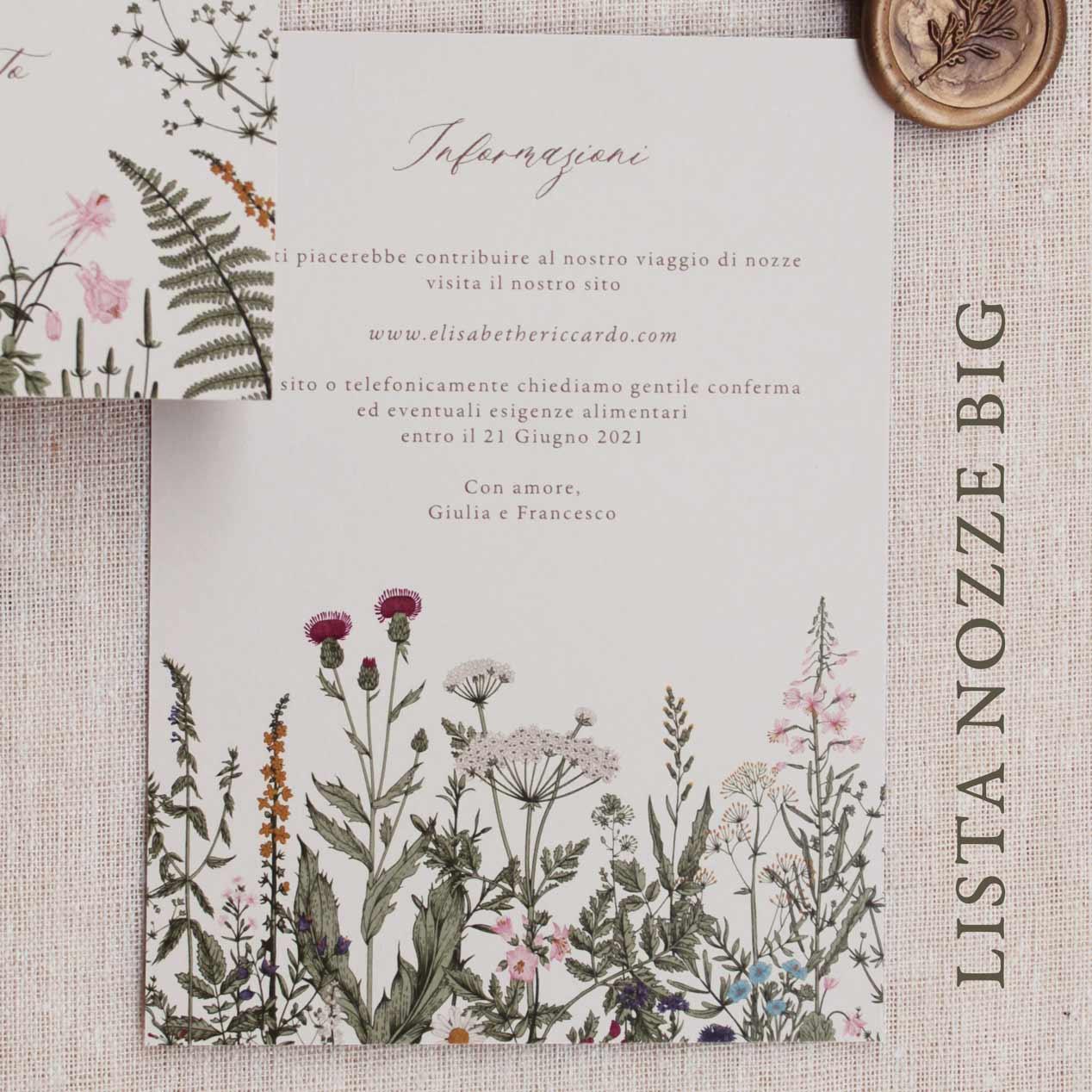 Partecipazioni-invito-nozze-matrimonio-fiori-verde-ulivo-margherite-flower-botanico-wedding-lista-nozze-iban-cartoncino