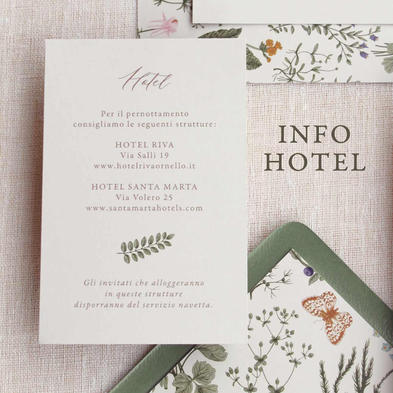 Partecipazioni-invito-nozze-matrimonio-fiori-verde-ulivo-margherite-flower-wedding-Invito-hotel-informazioni-pernottamento